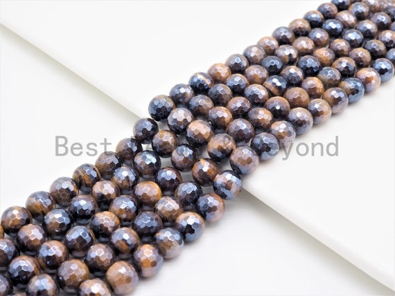High Quality Mystic Plated Faceted Yellow Tiger Eye Beads, 6mm/8mm/10mm/12mm/14mm Tiger Eye Gemstone Beads, 15inch Full strand, SKU#U411