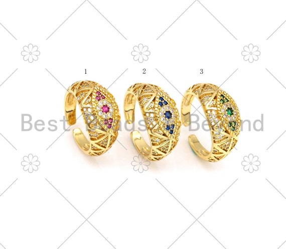 CZ Micropave Evil Eye Chunky Adjustable Ring, 18K Gold Filled Red/Green/Cobalt CZ Ring, Statement Ring,11x23mm,Sku#X266