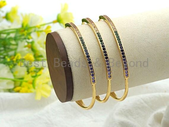 Colorful CZ Micro Pave Rainbow Thin Bangle Bracelet, Gold Thin Bracelet, Minimal Bracelet, cuff bracelets, 3x53x60mm,sku#X84