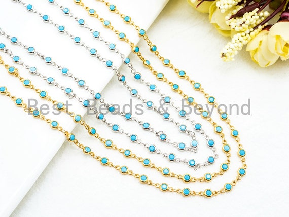 1 Foot/Yard-Blue Turquoise Beaded Chain-4mm/6mm/8mm Turquoise Beads-Gold Silver Gunmetal Plated Bezel Chain, Bezel Connector beads, sku#A3