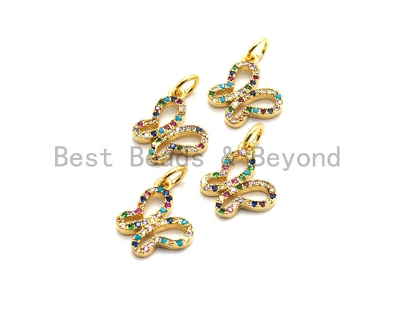 CZ Colorful Micro Pave Butterfly Pendant, Butterfly Shaped Pave Pendant, Gold plated, 10x11mm, Sku#F730