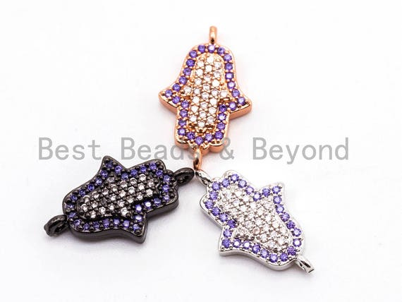 1/2pcs CZ Micro Pave Small Violet Hamsa Hand Connector, Cubic Zirconia Space Connector in Silver Rose gold gunmetal Color, 11x18mm, sku#A57