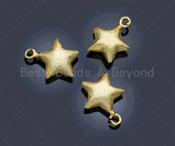 Brushed Gold Puffy Star Charm/Pendant, Star Shape Charm, Gold Star Pendant, Gold plated charm, 13mm, Sku#Y329