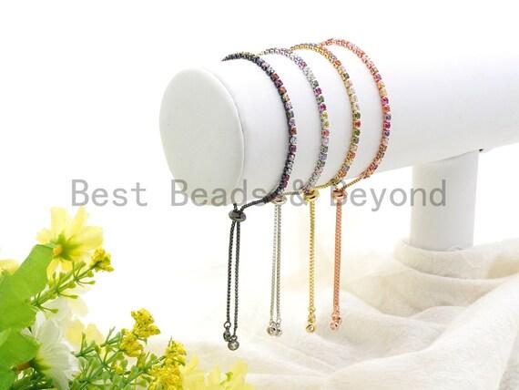 NEW STYLE Adjustable Bracelet,Rainbow cz Pave Stud Bracelet Gold/Silver/Rose Gold/Gunmetal, Chain Bracelet,SKU#A96