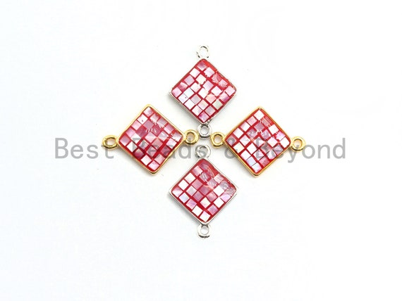 100% Natural Shell Hot Pink Diamond Shape Connector with Gold/Sliver Plated edging, Fuchsia Pink Shell, 14x18mm,SKU#Z289