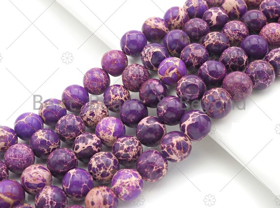 High Quality Purple Sea Sediment Imperial Jasper Beads, 6mm/8mm/10mm/12mm Round Smooth Imperial Japser, 15.5'' Full Strand, SKU#UA174