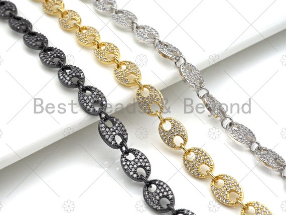 7x10mm High Quality Micro Pave Gucci Inspired Link Chain, Fully CZ Pave Chain, Necklace Bracelet Component, sku#M334