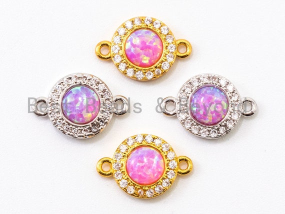 CZ Micro Pave Round connector/Link Finding, Pink Opal, CZ micro paved ,Cubic Zirconia CZ Connector, 9x13mm, sku#A69