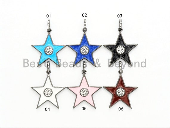 NEW Enamel Colorful Star Pendant,CZ Micro Pave Oil Drop Star pendant,Enamel pendant,Enamel Jewelry,28x31mm,sku#F574