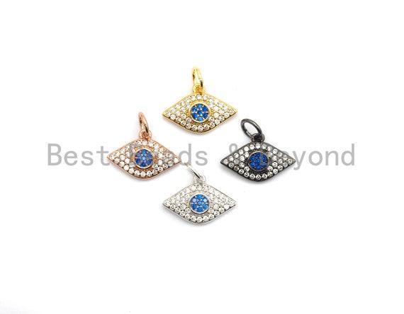 PRE-SELLING Cz Micro Pave Evil Eye Pendant for Necklace/Bracelet, Cobalt CZ,Cubic Zirconia Pendant,9x14mm, sku#fdc-Y199
