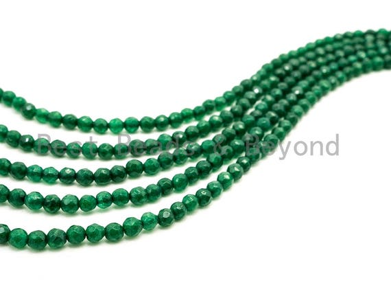 Emerald Jade beads,3mm/4mm Faceted Round Green Jade beads, Green Gemstone Beads, 15.5inch strand, SKU#U128