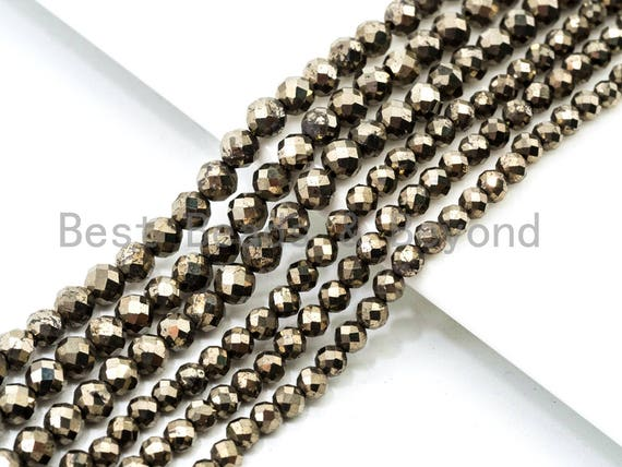 "Quality Faceted Golden Pyrite Round  Faceted Beads 2/3/4mm Gemstones Beads,Natural Pyrite Beads,15.5"" Full Strand,SKU#U108"