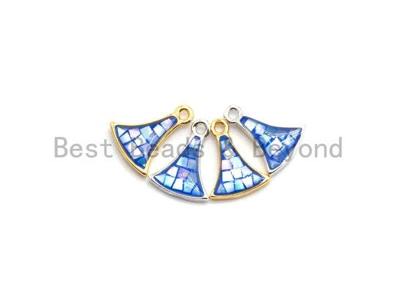 100% Natural Fan-Shaped Royal Blue Shell Pendant/Charm, Gold/Silver Finish, Bracelet Necklace Making Charms, 9x12mm,SKU#Z300