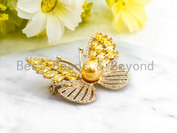 CZ Micro Pave Butterfly Brooch/Pin/Pendant with 8mm Round Shell Pearl ,Gold Tone, Pave Butterfly Brooch Pin Jewelry, 32x39mm, Sku#P37