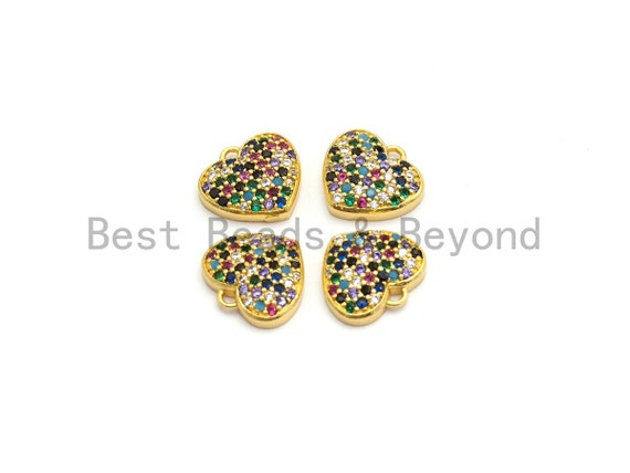 CZ Multi-color Micro Pave Heart Pendant, Heart Shaped Pave Pendant, Gold plated Heart Charm, 12x11mm, Sku#B117