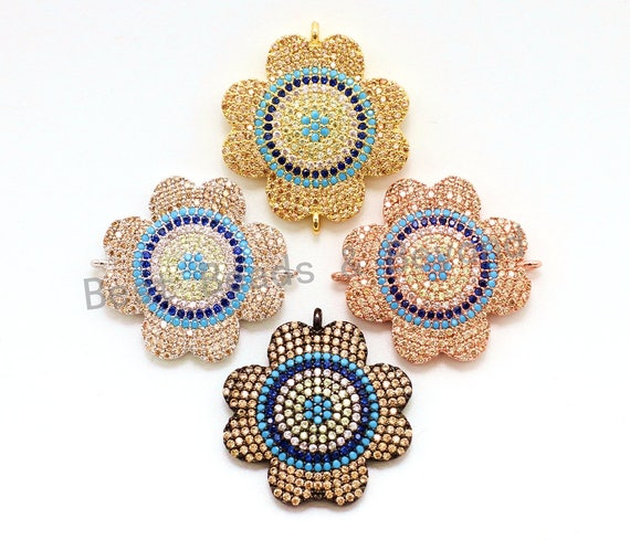 CZ Micro Pave Turquosie Cobalt Flower Connector for Bracelet/Necklace, Cubic Zirconia Space Connector, 23mm, 1pc/2pcs, sku#E64