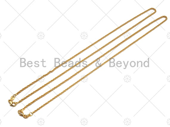 24K Gold Solid Rope Chain Necklace, 1.6mm Rope Chain Necklace, 17.5 inch with Spring Lobster Clasp, Ready to wear, sku#JD06