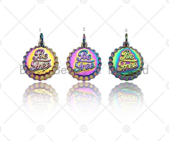 Rainbow Enamel Be Free Word On Bottle Cap Shape Pendant,Gold Enamel Charm, Necklace Bracelet Charm Pendant,15x17mm, Sku#F1376