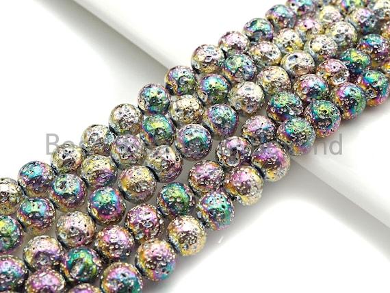 "NEW COLOR!!! Silver Rainbow Plated Lava Round Beads,8mm/10mm/12mm Lava Beads, Plated Lava Beads, 15.5"" Full Strand, sku#U872"