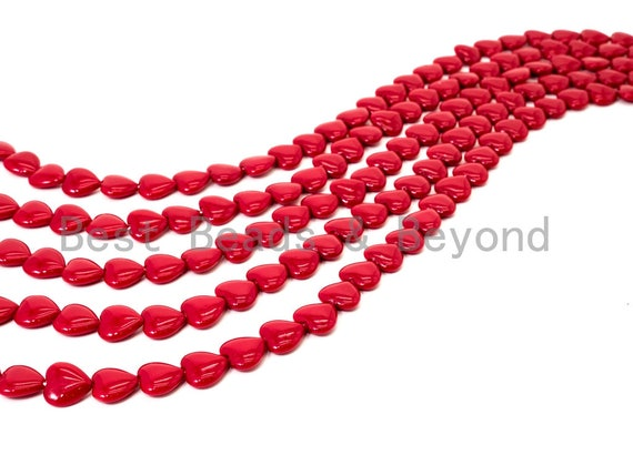Red Natural Mother of Pearl beads,12x5mm Pearl Heart beads, Loose Heart Smooth Pearl Shell Beads, 16inch strand, SKU#T85