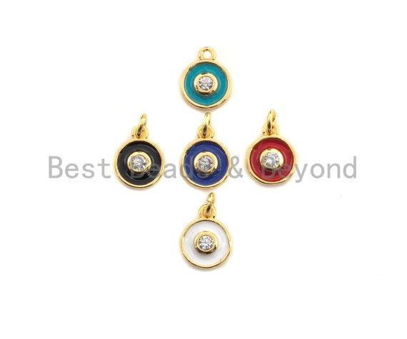 Enamel Colorful Dangle Charm, CZ Micro Pave Oil Drop pendant, White/Black/Red/Turquoise/Blue Enamel pendant,8x11mm,sku#F1057