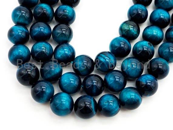 Quality Natural Enhanced Color Blue Tiger Eye Round Beads, 6mm/8mm/10mm/12mm/14mm, Blue Tiger Eye Gemstone Beads, 15.5inch strand, SKU#U217