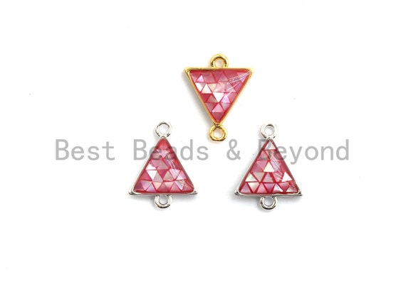 100% Natural Hot Pink Shell Triangle Connector in Gold/Silver Finish, Fuchsia Pink Connector, Natural Shell Beads, 11x14mm,SKU#Z272