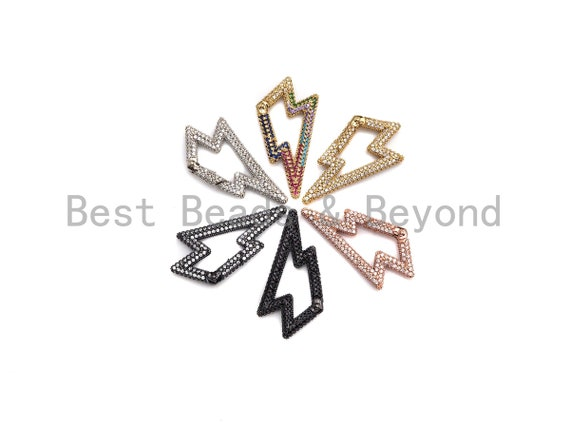 NEW Fully CZ Micro pave Lightning Bolt Clasp with Easy Open Spring, CZ Pave Lock, Spring Snap Link Clasp, 19x38mm, sku#H262