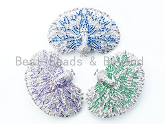 CZ Micro Pave Blue Green Ruby Peacock Brooch Pin, Pin Jewelry, Brooch Pin, Focal Charms, Gift for her, 37x56mm, Sku#L143