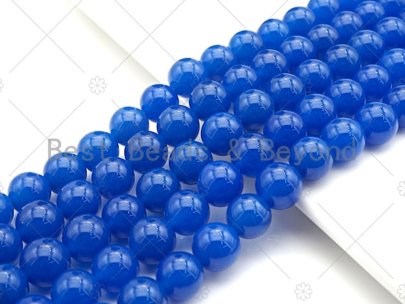 "Gorgeous Natural Blue Agate Smooth Beads, 6mm/8mm/10mm/12mm Round Smooth, Blue Agate Beads, 15.5"" Full Strand, sku#UA155"