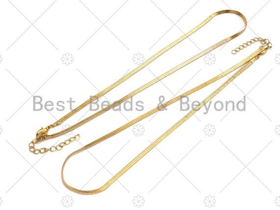 Herringbone Chain Gold Bold Necklace, 3mm/5mm wide Herringbone Chain for Layering Necklace, 18 inch,sku#M383