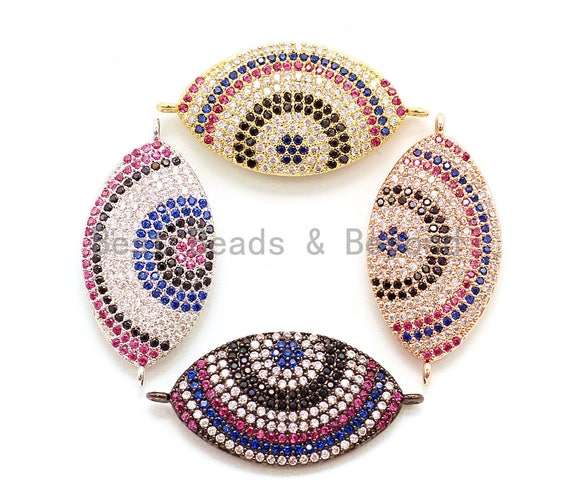 CZ Micro Pave Rainbow Evil Eyes Connector for Bracelet/Necklace, Cubic Zirconia Space Connector, CZ Beads,16x33mm,sku#E47