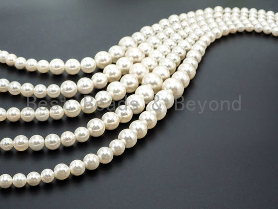 15inch strand Natural MOP Round Graduated Beads, 8-16mm White Round Polished Mother of Pearl, Bride Bridesmaid Wedding Supply, SKU#U46