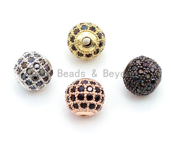 6mm/8mm/10mm CZ Micro Pave Ball Beads, Gold/Silver/Rose Gold/Black Plated, Black CZ Pave, Ball Space Beads 1pc/5pcs,sku#G307
