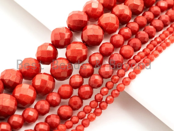 Quality Natural Dyed Red Coral Beads, 2mm/3mm/4mm/6mm  Round Faceted Gemstone Beads, Loose Coral Beads, 15.5inch strand, SKU#U116