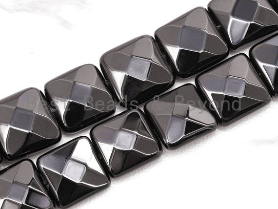 """Quality Faceted Square Black Onyx Beads 10mm 12mm 14mm Natural Stones, Gemstones Beads,Square Black Beads, 15.5"""" Full Strand, SKU#Q18"""