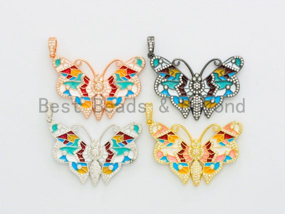 NEW Enamel Colorful Butterfly Pendant,CZ Micro Pave Oil Drop Butterfly pendant,Enamel pendant,Enamel Jewelry,29x44mm,sku#F587