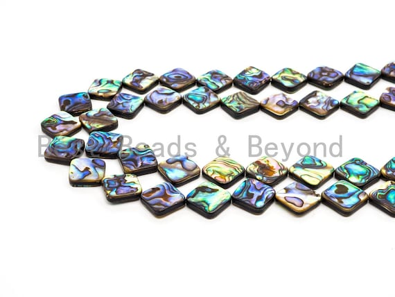 10mm/12mm/14mm/16mm Natural Abalone Flat Square Shape Shell beads, Loose Smooth Seashell Beads, Mosaic Abalone Beads, 16inch strand,SKU#R8