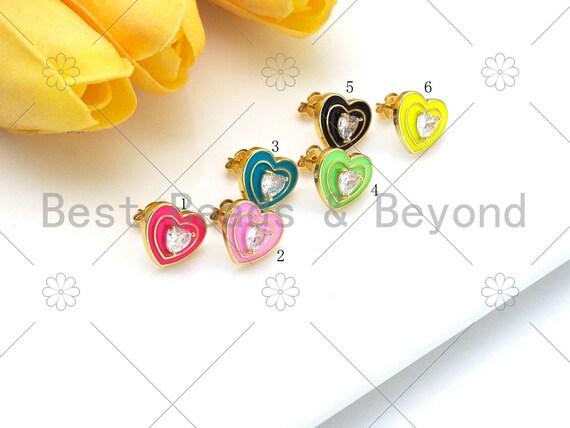 Clear CZ Micro Pave Heart on Colorful Enamel Heart Earrings, 18K Gold Filled Heart Stud Earrings, Enamel Pave Jewelry, 14x12mm, Sku#O67