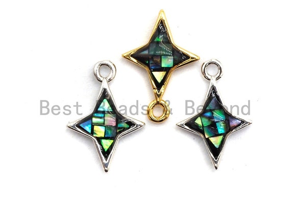 100% Natural Abalone Shell North Star Charm, Abalone Shell Charm, 10x14mm, Jewelry making Charms, SKU#Z346