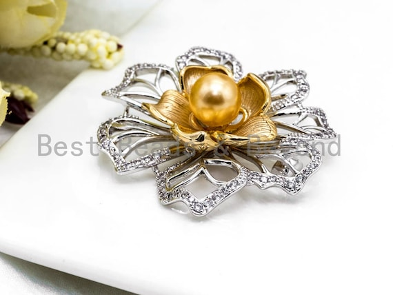 CZ Micro Pave Silver Gold Two Tone Flower Brooch/Pin with 10mm Shell Pearl, CZ Pave Flower Brooch Pin Jewelry, 45x49mm, Sku#P31