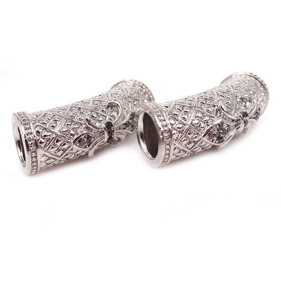 Black CZ Micro Pave Curved Tube Beads, 10x28mm CZ Pave Cross Patten Tube Spacer Beads, Men's Jewelry Findings, sku#G402B
