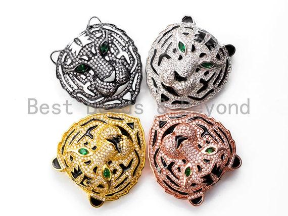 CZ Micro Pave Tiger Head beads/Focal, Tiger Focal Charm, Tiger focal beads, Gold/Rose Gold/Black/Silver Pave pendant, 38mm, sku#L159