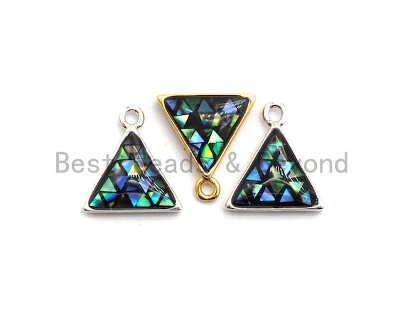 100% Natural Abalone Shell Triangle Shape Pendant/Charm, Abalone Jewelry, Shell Jewelry, Beach Jewelry,  11x12mm,SKU#Z310