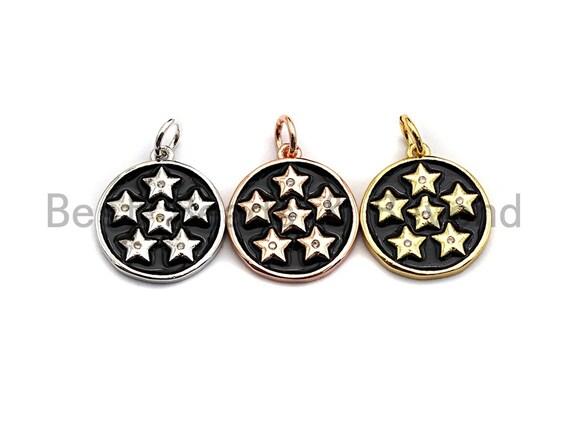 Black Enamel Six Stars on Disc Charms Pendant, Enamel Coin Pendant,Round Enamel, Oil Drop jewelry Findings, 16x20mm,sku#Z372