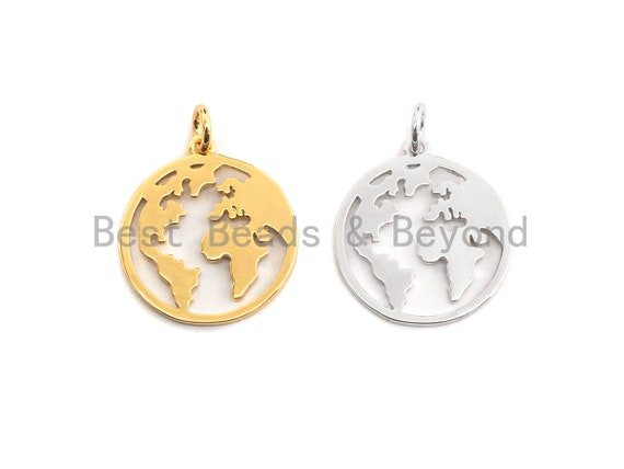 PRE-SELLING World Map Disc Pendant, Hollow Out Brass Pendant, Silver/Gold Global earth round pendant, 18x20mm, Sku#Z414