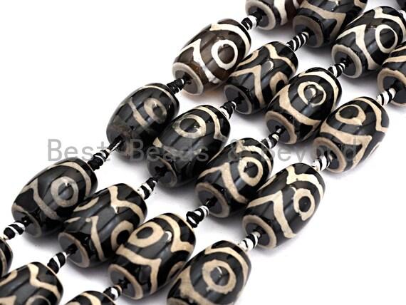 1pc/12pc Natural Tibetan Agate Barrel Eye Beads, Black White Dzi Eye beads, Barrel Agate Oval Beads, 15x22mm,sku#U495