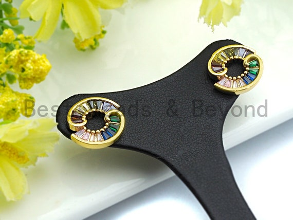 Pre-Selling Colorful Baguette CZ Micro Pave Earring with Two Half Rings Shaped Earring, Gold Stud Earring, Minimal Jewelry, 14x16mm,sku#J116