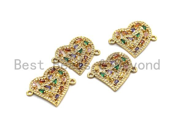 Colorful Baguette CZ Micro Pave Heart Shape Connector/Link, Cz Pave Bracelet Necklace Connector in Gold Finish,21x23mm,sku#M242