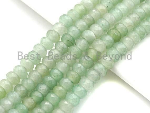 "2mm Large Hole Natural Green Aventurine Beads, Rondelle Faceted 6x10mm/5x8mm, 8"" Long Strands, sku#U731"